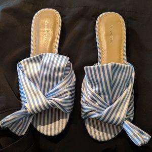 White & Blue Striped Sandals